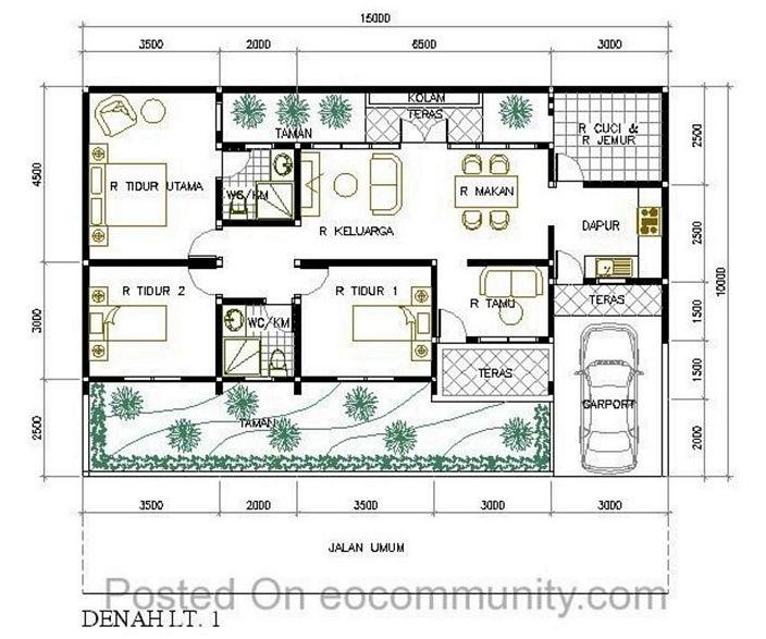 denah rumah 7x12 meter kamar 3 inspiratif