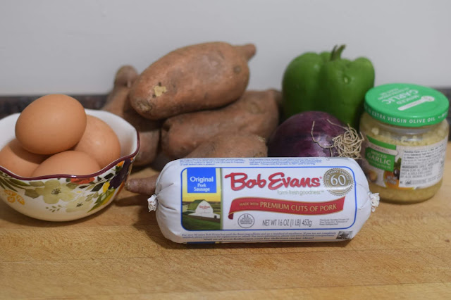 The ingredients needed to make the sweet potato hash with egg recipe.