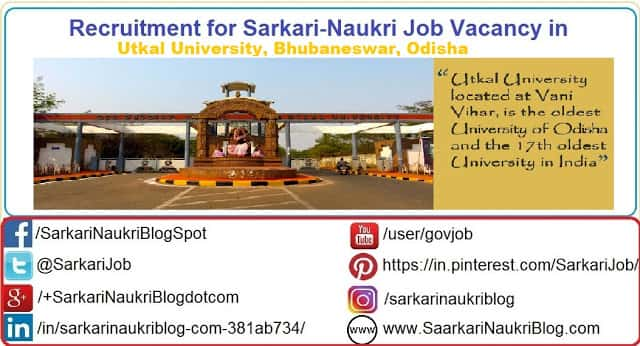 Naukri Vacancy Recruitment Utkal University Bhubaneswar