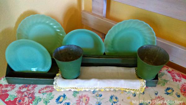 Repurposed vintage tool tray farmhouse vignette