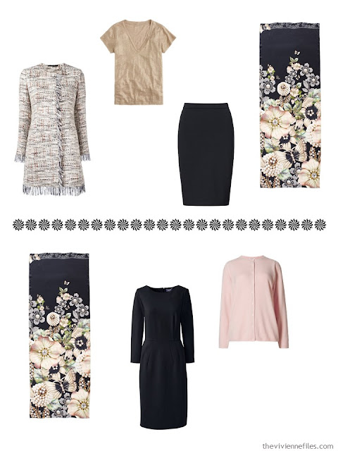 a skirted suit outfit, and a dress ensemble to wear with the Garden Gems scarf by Ted Baker London