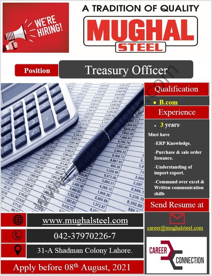 career@mughalsteel.com - Mughal Steel Jobs 2021 in Pakistan