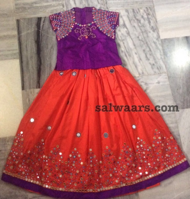 Orange and Purple Big Kids Lehenga