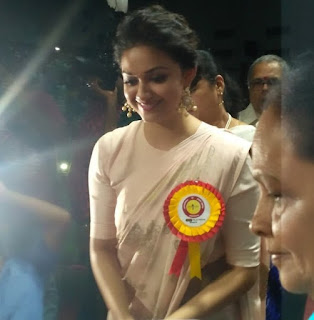 Keerthy Suresh in Saree with Cute Smile for Mahanati Felicitation in Tirupathy 1