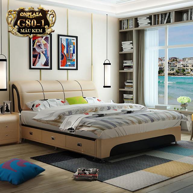 Bộ giường ngủ đa năng bọc nệm da có ngăn kéo sang trọng