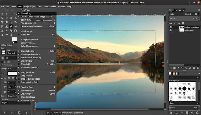GIMP 2.10.14 Tüm görünüm modunu göster