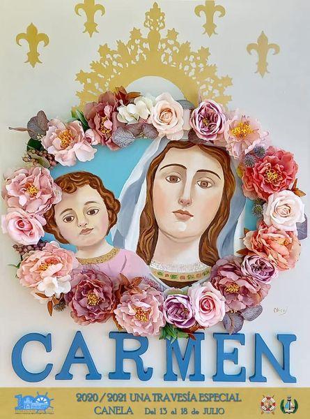 Cartel y Programa de la Pro-Hermandad Ntra Sra del Carmen de Canela (Ayamonte) 2021