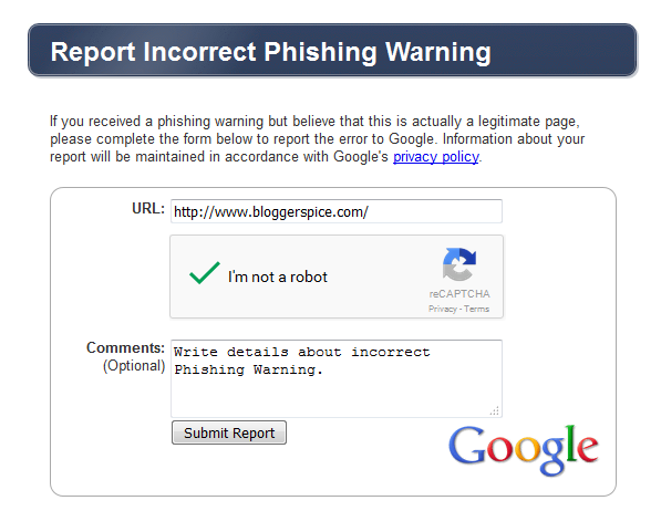 incorrect phishing warning
