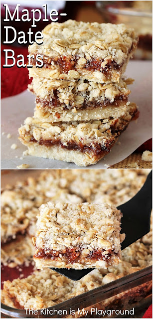 Maple-Date Bars ~ With their tasty homemade date & maple jam filling sandwiched between a crumb crust and topping, Maple-Date Bars are loaded with fabulous flavor. They're a perfect simple sweet treat dessert, breakfast bite, or afternoon snack.  www.thekitchenismyplayground.com