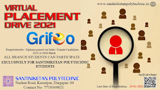 Diploma Freshers  Online Job Campus Placement Drive Organized by Santiniketan Polytechnic, Durgapur, West Bengal