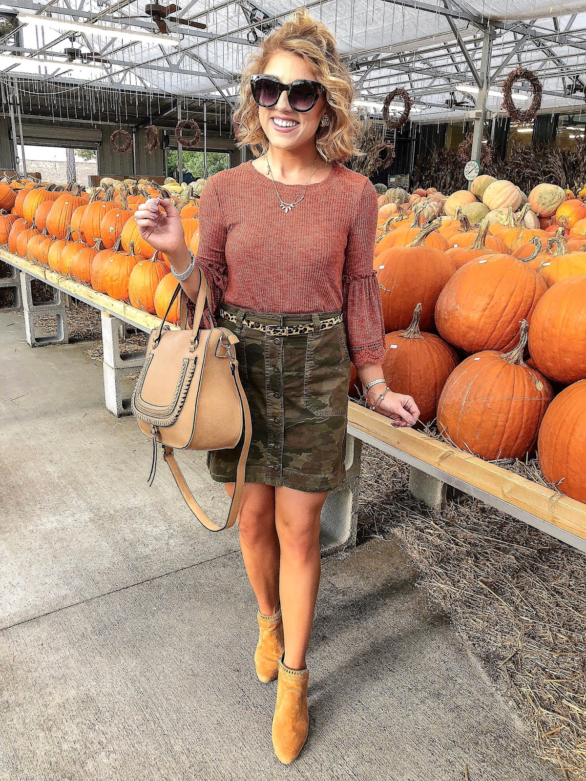 Fall Fashion: Lace Trim Tee with Camo Skirt - Something Delightful Blog