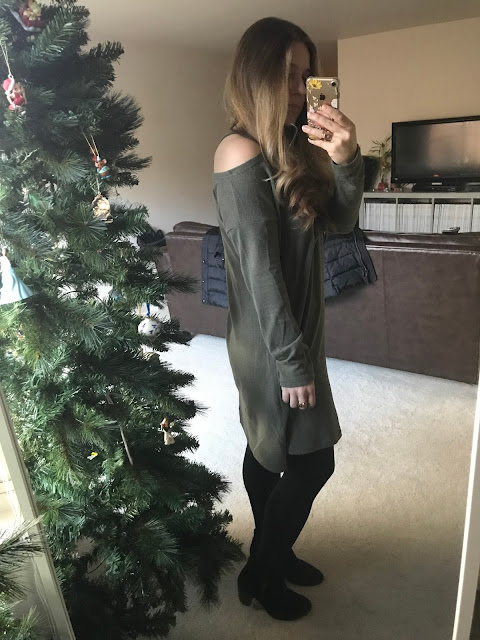 Green sweater from Zulily. Super warm. Black Tights and Booties.