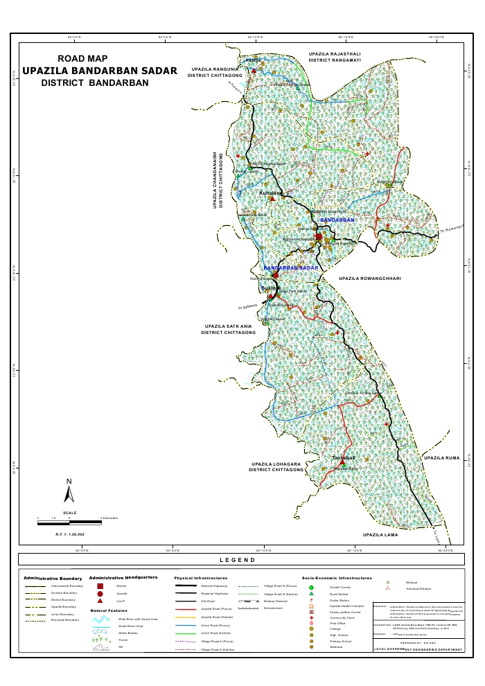 Bandarban Sadar Upazila Road Map Bandarban District Bangladesh