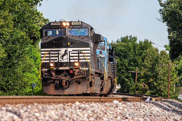 NS 9599 and NS 8450 are nearing NS' Luther Yard in St. Louis, MO.