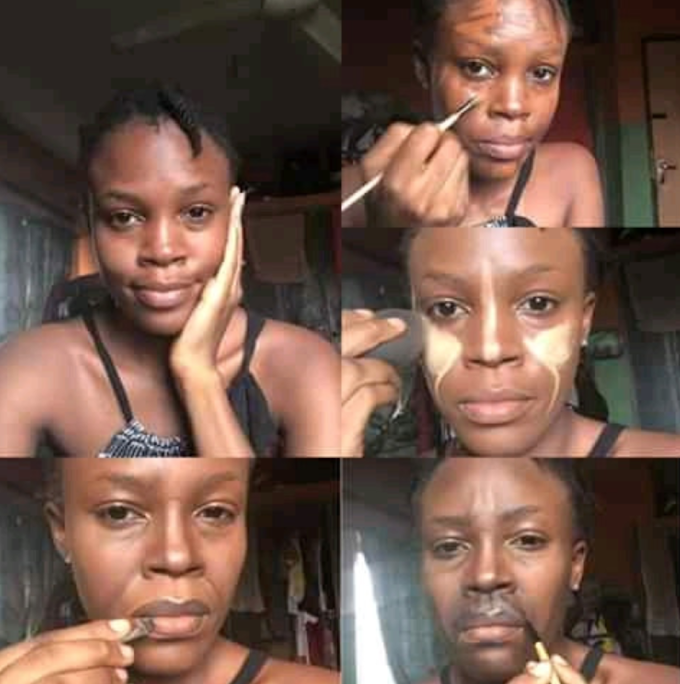 JUST IN: Makeup Artist Transforms her Face to Look like president Buhari's face