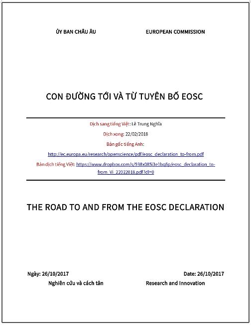 'Con đường tới và từ Tuyên bố EOSC' - bản dịch sang tiếng Việt