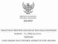 Aturan Baru Tentang Uang Makan Pegawai ASN Berdasarkan PMK 72 Tahun 2016