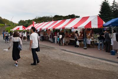 Stalls of La Fete du Pain Setagaya 2017 at Setagaya Park, Tokyo, Japan.