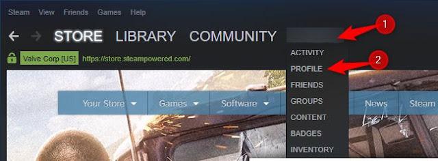 فتح ملفك الشخصي في Steam