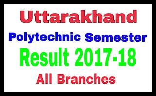 UK UBTER Polytechnic Result 2018, Summer Winter Semester Result