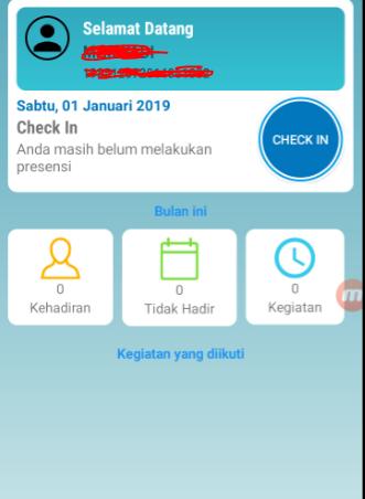 Tampilan Dashboard Aplikasi E-Presensi Menggunakan Ponsel Android