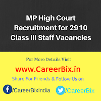 MP High Court Recruitment for 2910 Class III Staff Vacancies