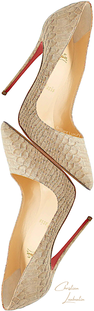 Christian Louboutin So Kate beige python snakeskin leather pumps #brilliantluxury