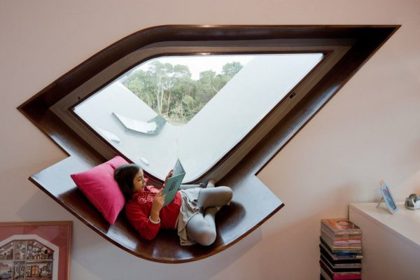 architectural dark wood window reading nooks x