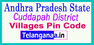 Cuddapah District Pin Codes in Andhra Pradesh  State