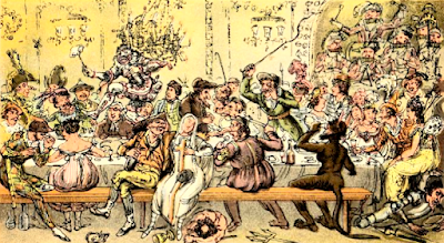 Tom & Jerry larking at a masquerade supper, at the Opera House by IR & G Cruikshank in Tom and Jerry: Life in London by P Egan (1869 first pub 1821)