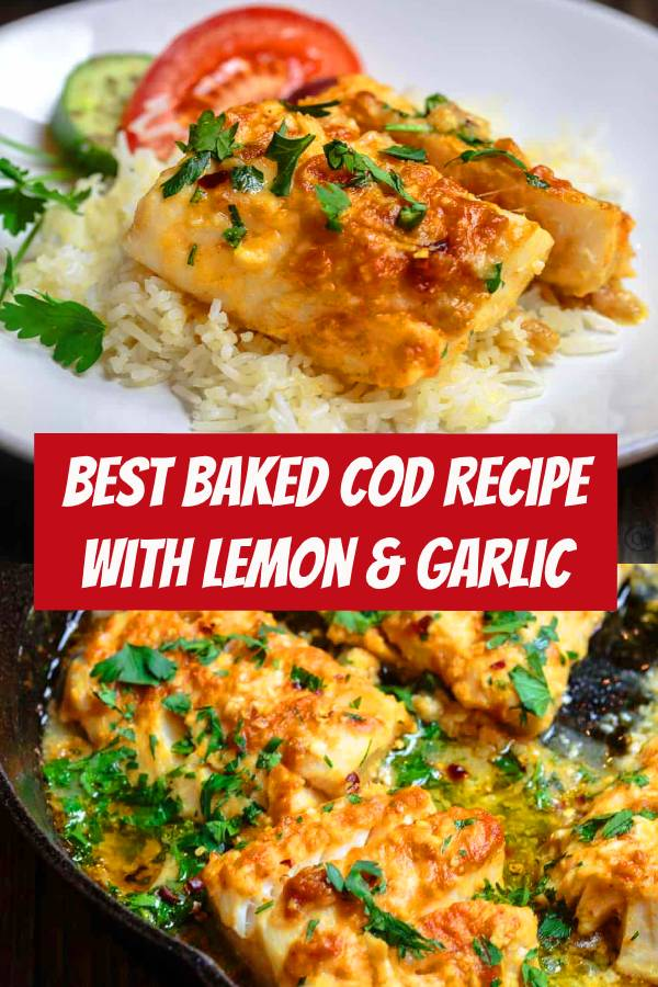 Best baked cod recipe out there! Prepared Greek style with a few spices and a mixture of lemon juice, olive oil and lots of garlic. Bakes in 15 mins! #cod #codfish #baked #bakedcod #dinner
