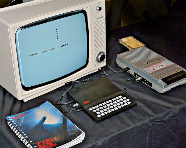 Typical ZX81 configuration with cassette recorder, monochrome TV and manual