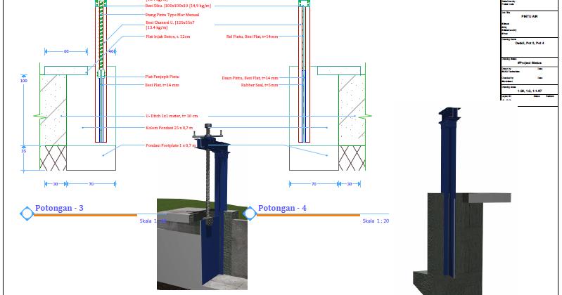 Ebook Materi Teknik Sipil - Contoh Gambar Desain Pintu Air ...