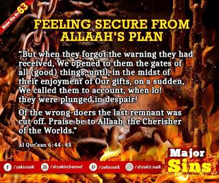 MAJOR SIN. 63.2. FEELING SECURE FROM Allah'S PLAN