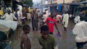 Photos:: Floods take over some roads in Kano