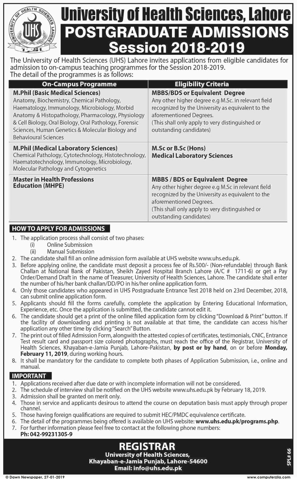 Admissions Open For Spring 2019 At UHS Lahore Campus