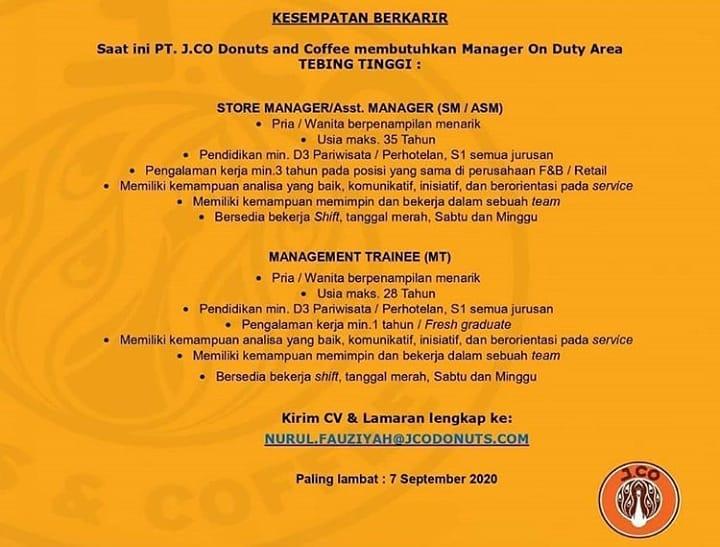 2 Posisi Di Pt J Co Donuts And Cafe Informasi Lowongan Kerja Medan 2021 Terbaru Hari Ini