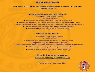 2 Posisi di PT J. Co Donuts and Cafe
