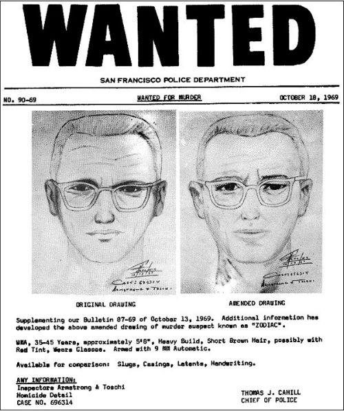 Lệnh truy nã Zodiac được gửi đi với những thông tin miêu tả kẻ giết người.