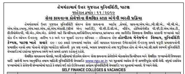 HNGU Recruitment 2019