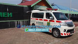 Ekspedisi FARHIYAtrans mengirim mobil Ambulance Luxio dari Karoseri Tangerang tujuan ke RSUD Jaraga Sasameh Buntok, Barito Selatan, Kalimantan Tengah door to door dengan kapal roro dan driving, perkiraan perjalanan 5 hari.