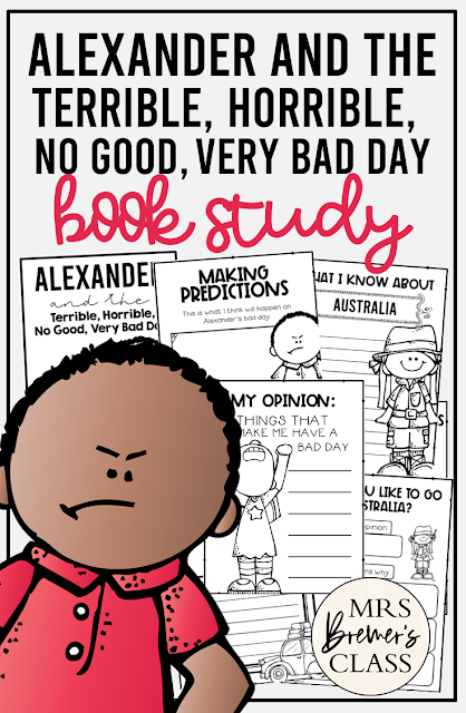 Alexander and the Terrible, Horrible, No Good, Very Bad Day book study literacy activities. Perfect for whole class guided reading, small groups, or individual study packs. Packed with lots of fun literacy ideas and guided reading activities. Common Core aligned. Grades 1-2 #bookstudies #bookstudy #picturebookactivities #1stgrade #2ndgrade #literacy #guidedreading