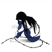 girl tied with ropes(expressing helplessness of a women not being able to fulfill her dreams)