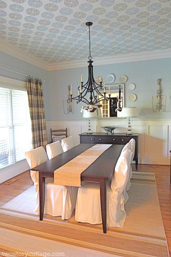 Where we are the dining room a wallpapered ceiling for Dining room wallpaper