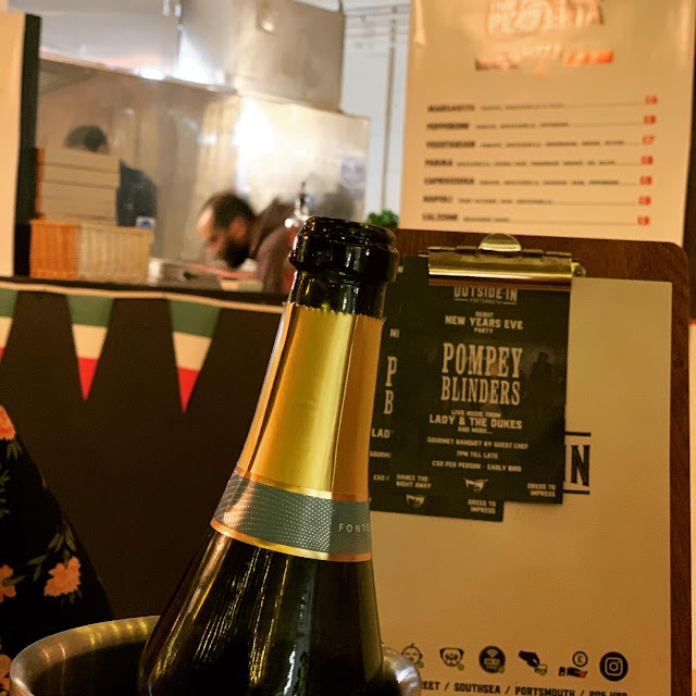 Prosecco bottle at Outside-In Food Court, Portsmouth
