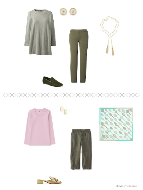 2 outfits from a capsule wardrobe in shades of green with pink and beige accents
