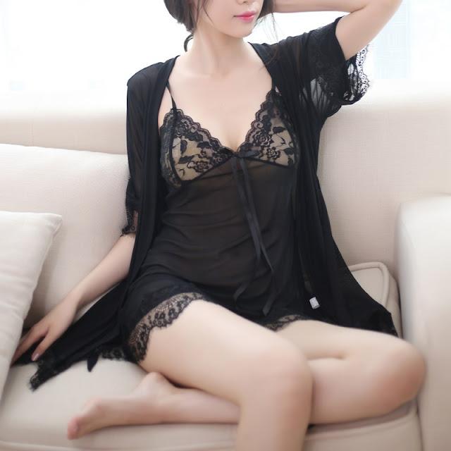 Áo choàng kèm váy ngủ trong suốt Sexy Gợi Cảm  4