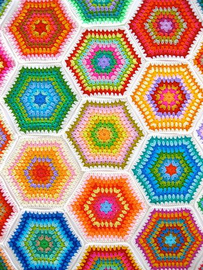 Granny Hexagon Crochet Patterns, crochet motif