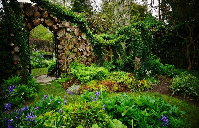 """Sakonnet Garden. Rhode Island. The """"Gothic Woodpile' Arco verde de alambre cubierto de Euonymus."""