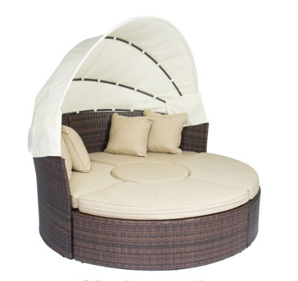 Outdoor Patio Sofa Furniture Round Retractable Canopy Daybed Brown Wicker Rattan, Circular Outdoor Daybeds, Daybeds, Outdoor Daybeds, Outdoor Daybeds With Canopy, Outdoor Furniture, Patio Furniture, Round Outdoor Daybeds, Round Outdoor Daybeds On Sale, Wicker Outdoor Daybeds,